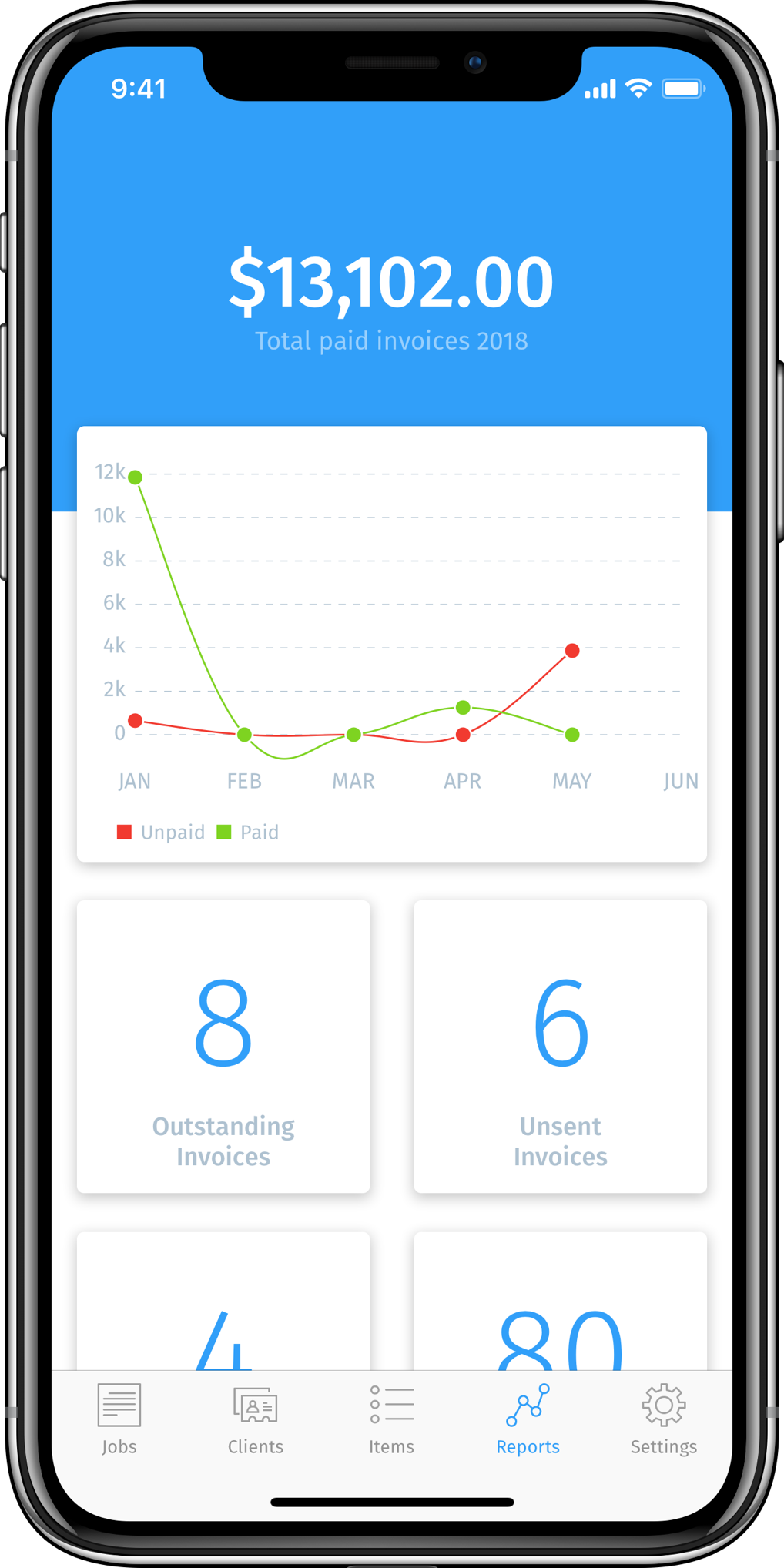 iPhone frame showing the InvoiceBot dashboard