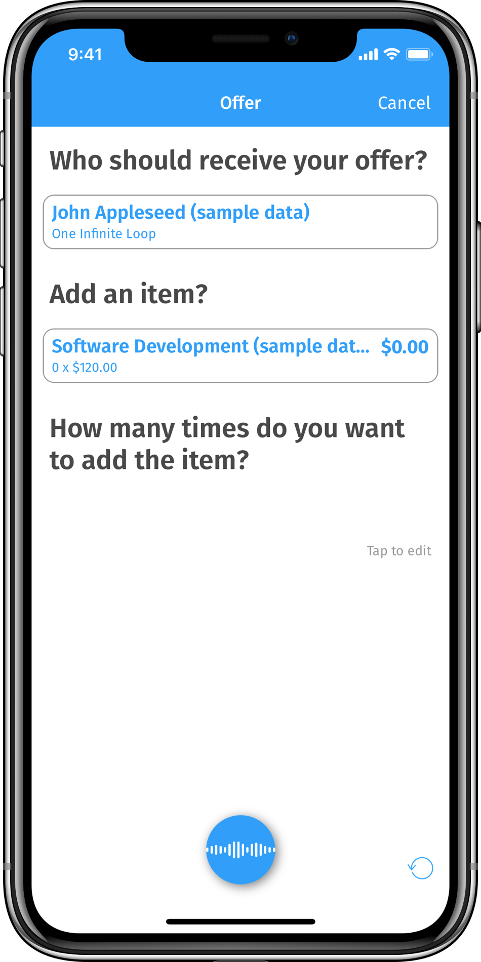 iPhone frame showing how to create invoices with your voice in InvoiceBot