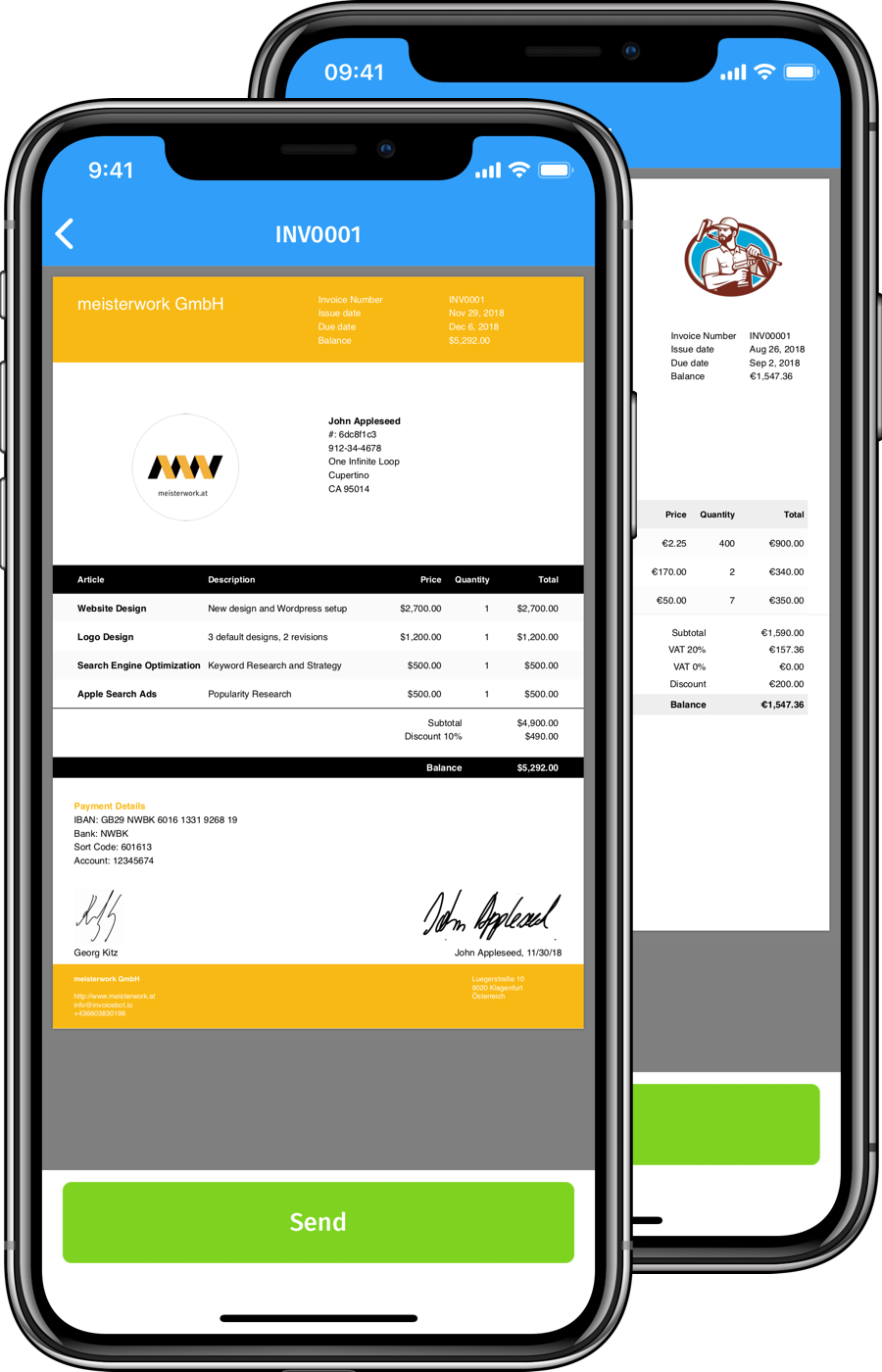 iPhone frames showing generated pdf invoices with InvoiceBot