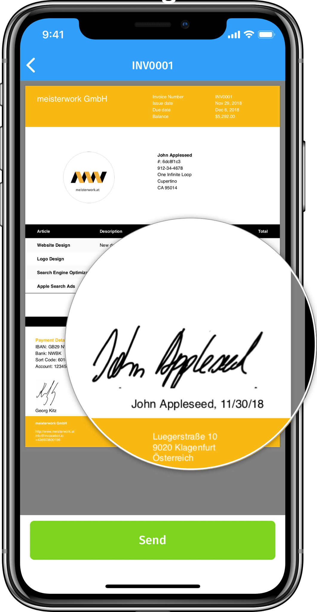iPhone frame highlighting a customer signature on an invoice